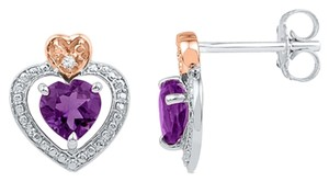 Other Ladies Luxury Designer 10k White Gold 1.00 Cttw Diamond & Amethyst Gemstone Fashion Heart Earrings By BrianGdesigns