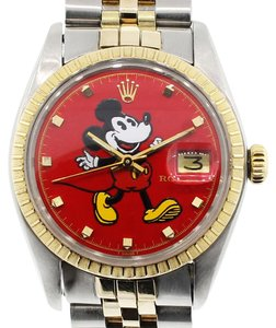 Rolex Rolex Date 1505 Two Tone Red Mickey Mouse Dial Watch