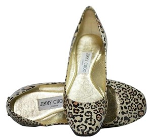 Jimmy Choo Leopard Patent Leather Animal print Flats