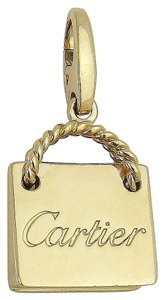 Cartier Cartier 18K Rose Gold Engraved Shopping Bag Charm Pendant D410