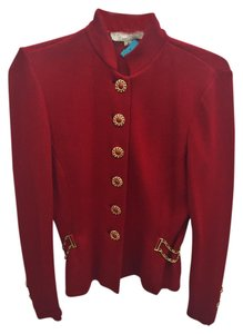 St. John Knit Gold Red Blazer