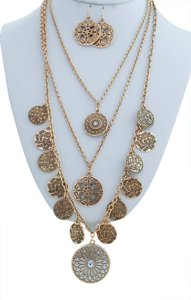 Other Multi Layer Golden chain Dangle Necklace Set