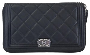 Chanel Chanel Black Lambskin Large Zip Around Boy Wallet No. 16