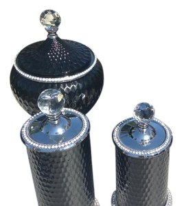 Beautiful Black Card Box And Matching Bling Vases