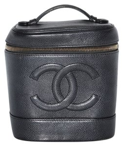 Chanel Chanel Caviar Cosmetic Vanity Tote Case Black CC Satchel Cosmetic Pouch