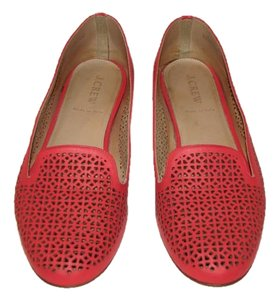 J.Crew Leather Perforated Belvedere Red Flats