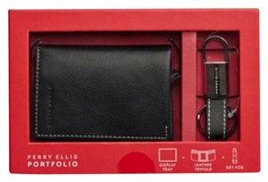 Perry Ellis ** NWT ** MEN'S leather TRIFOLD WALLET WITH KEY FOB