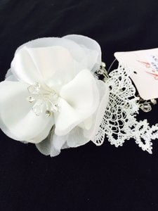 Fabric Flower & Embellished Lace Applique Hair Comb