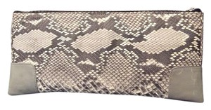 Mary Lai Inside Zipper Leather Lining Grey Clutch