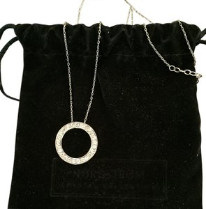 Nordstrom Silver Necklace with Circle Pendant of CZs