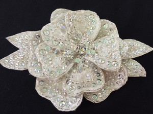 Moonlight Bridal Encrusted Beaded Flower Applique