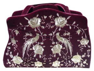 Lulu Guinness Velvet Gold Embroidered Shoulder Bag