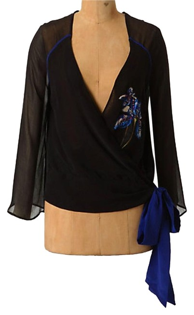 Preload https://item3.tradesy.com/images/anthropologie-blue-piped-wrap-embellished-blouse-night-out-top-size-4-s-17765512-0-1.jpg?width=400&height=650
