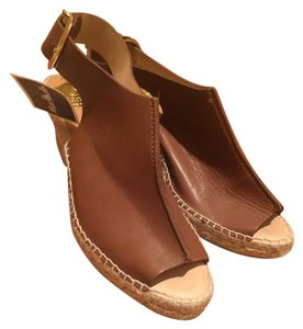 Kanna Leather Espadrille Brown Wedges