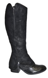 Donald J. Pliner Wedge Heel Western BLACK SUEDE/LEATHER Boots