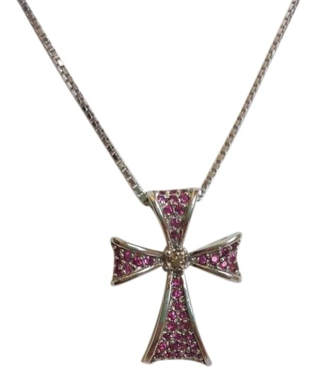 Preload https://item3.tradesy.com/images/red-18k-white-gold-and-ruby-cross-necklace-17765632-0-6.jpg?width=440&height=440