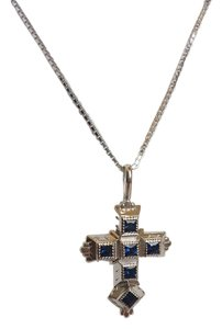 Levonian Jewelry 14K White Gold and Blue Sapphire Cross Necklace
