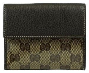 Gucci GUCCI *143387 Women's Leather/Crystal Coated Canvas French Wallet