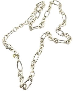 David Yurman David Yurman Figaro Sterling Silver Oval Chain LInk Necklace with 18K Gold DY TAG