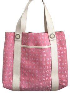 BVLGARI Monogram Bulgari Canvas Tote in Salmon/Pink
