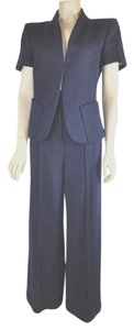 Louis Vuitton Blue High Waist Flare Leg Pants Suit Short Sleeve Blazer 38/40