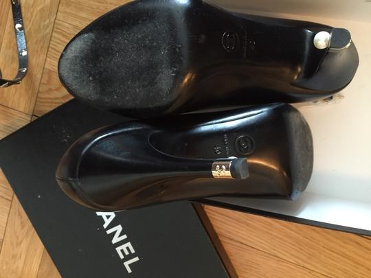 Chanel Open Toe Leather Cc Coco Leather Black With Pearls Pumps