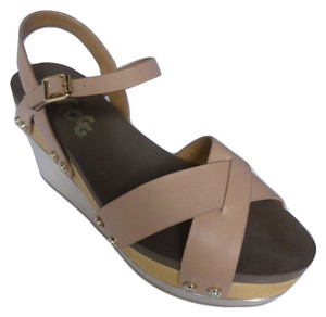 Flogg Leather Platform Wedge Nude Sandals