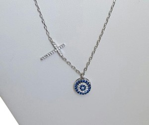 Cross and Evil Eye Necklace