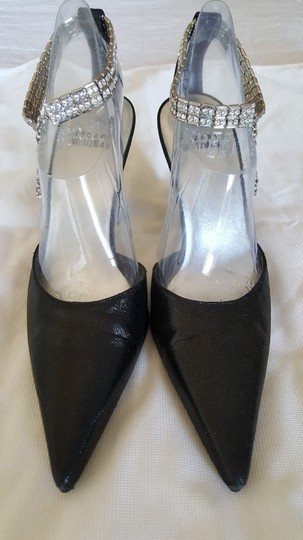 Stuart Weitzman Rhinestone Jeweled Lame Black Formal