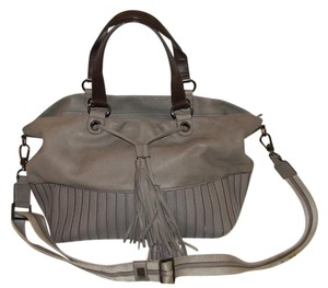 Anya Hindmarch Leather Tassels Cross Body Satchel in Taupe