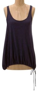 Anthropologie Scooped Back Easy Fit Blouson Shape Arched Hem Tie Bottom Top Navy