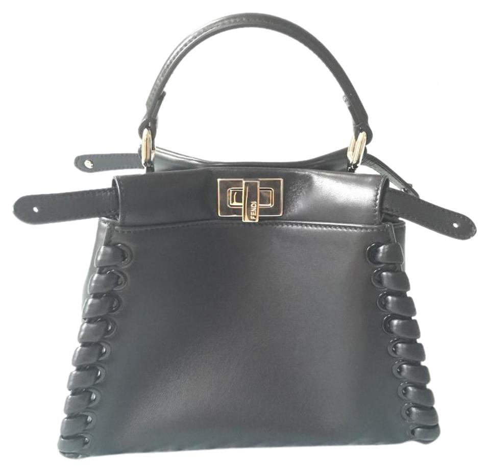 6f0ae2ed6d22 Fendi Mini Whipstitch Peekaboo Black Lamb Leather Satchel - Tradesy