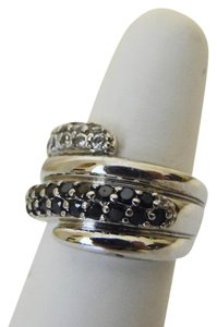Technibond Technibond Black and White Simulated Diamond Overlap Band Ring Size 8
