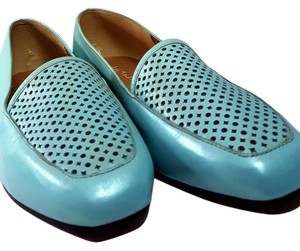 Enzo Vintage Blue Classic Loafer Chic Light Blue Flats