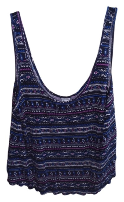 Forever 21 Flowy Aztec Sleeveless Chic Top Blue Multi