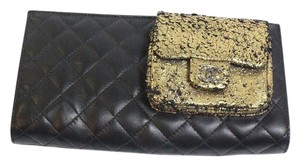 Chanel Gold Black Clutch