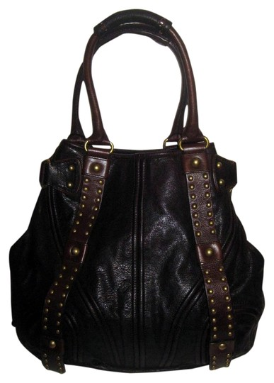 Botkier Leather Studded Eclectic Boho Tote in Deep Dark Brown Image 0