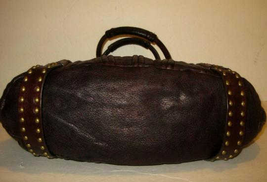 Botkier Leather Studded Eclectic Boho Tote in Deep Dark Brown Image 2