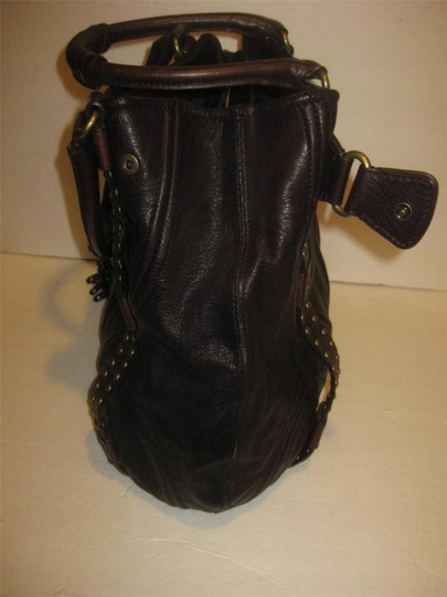 Botkier Leather Studded Eclectic Boho Tote in Deep Dark Brown