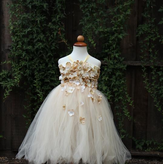 Ivory Beige Champagne Custom Made Flower Girl Dress
