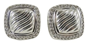 David Yurman David Yurman Sterling Silver .49tcw 11mm Carved Cable Earrings with Diamond Bezel