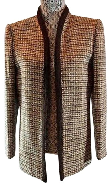 Preload https://item2.tradesy.com/images/le-suit-brown-metallic-lame-trimmed-open-front-jacket-blazer-size-6-s-17768521-0-1.jpg?width=400&height=650