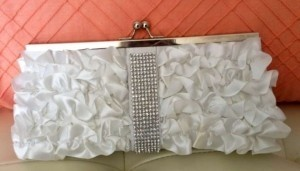 White Satin with Rhinestone Strip Clutch Bridal Handbag