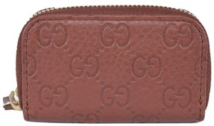 Gucci NEW Gucci 324801 Dark Brick Leather Mini Zip Around Coin Purse