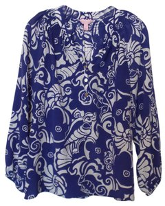 Lilly Pulitzer Silk Seahorse Signature Print High - Low Hem Top Purple & white