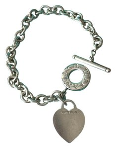Tiffany & Co. Silver Link Heart Tag Toggle Bracelet w/POUCH!