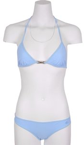Gucci NEW Gucci Women's 371648 Light Blue Jersey Piston Lock GG Bathing Suit Bikini M