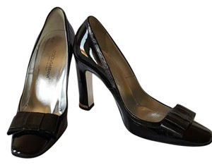 Dolce&Gabbana Vernice Anguilla Chunky Heel Classic Business Black Pumps