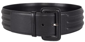 Saint Laurent New Saint Laurent YSL Women's 314555 $625 Black Leather Ribbed Belt L