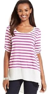 Style & Co Chiffon Striped Hi Lo Hem Tee Petite T Shirt Fuschia and Cream